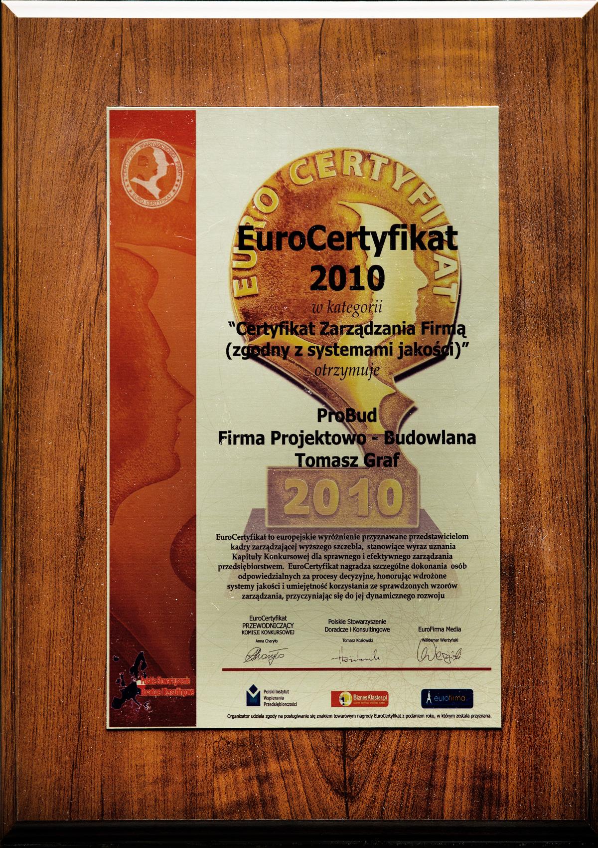EURO Certyfikat 2010