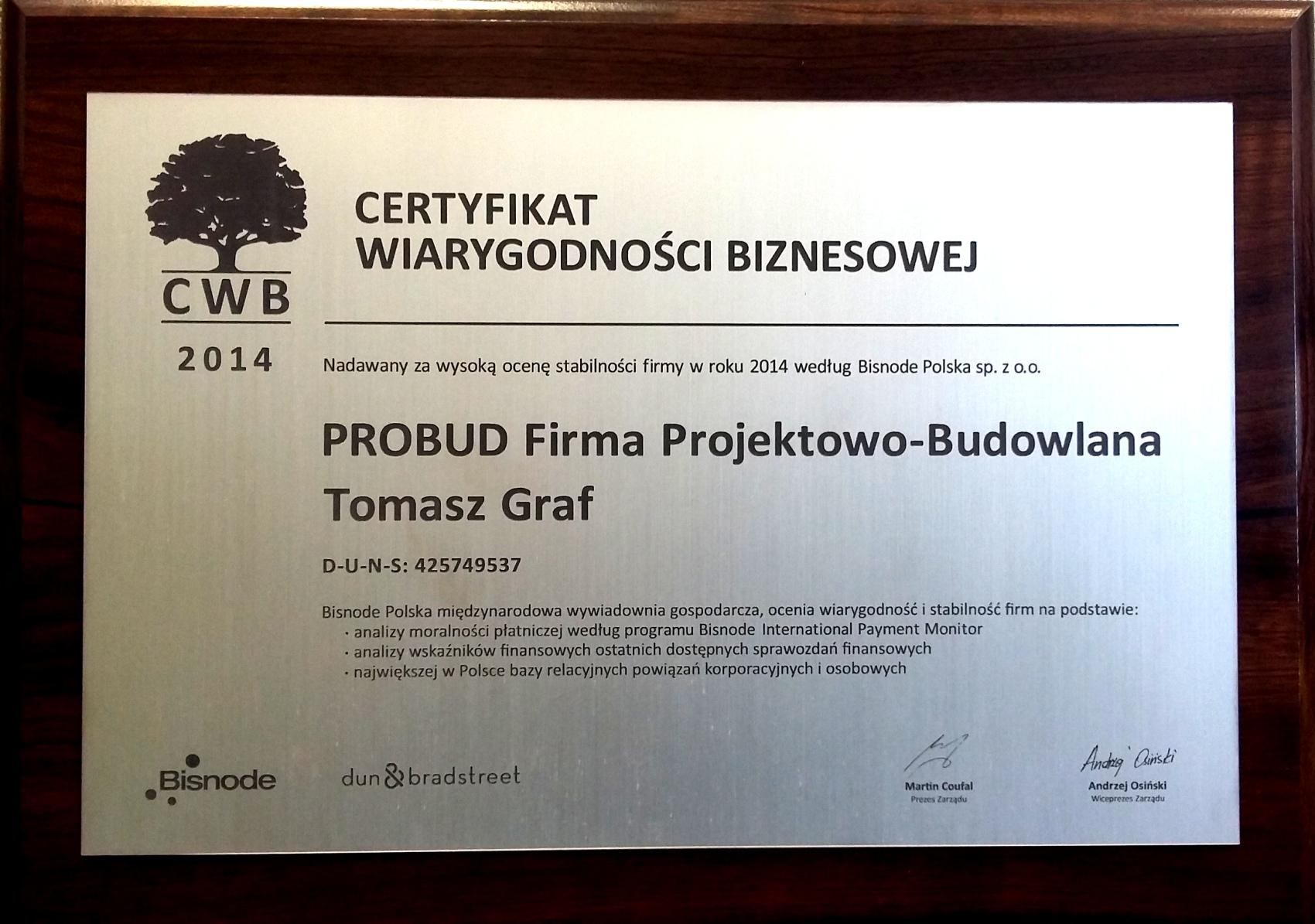 Certyfikat Wiarygodności Biznesowej