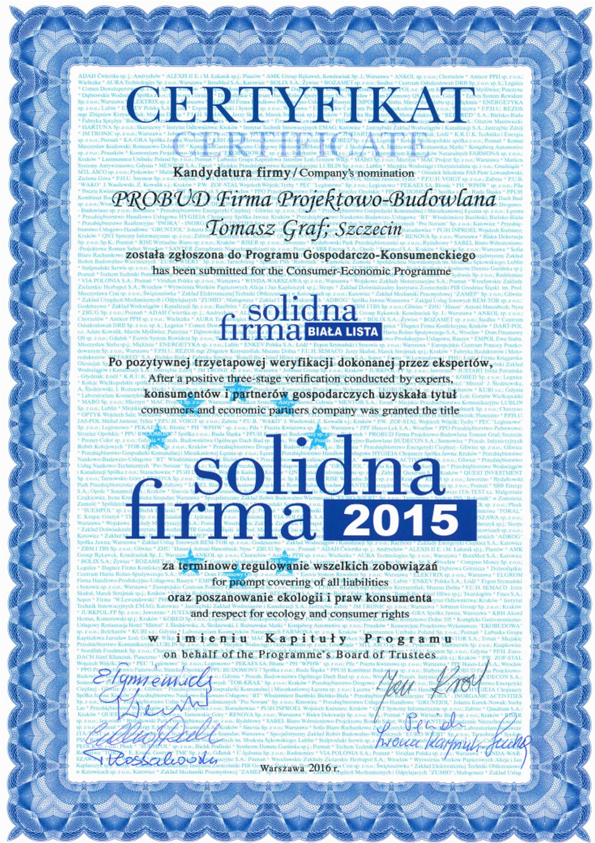 Certyfikat Solidna Firma 2016 Biała Lista