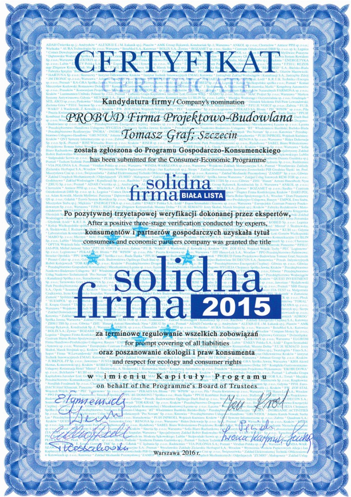 Certyfikat Solidna Firma 2015